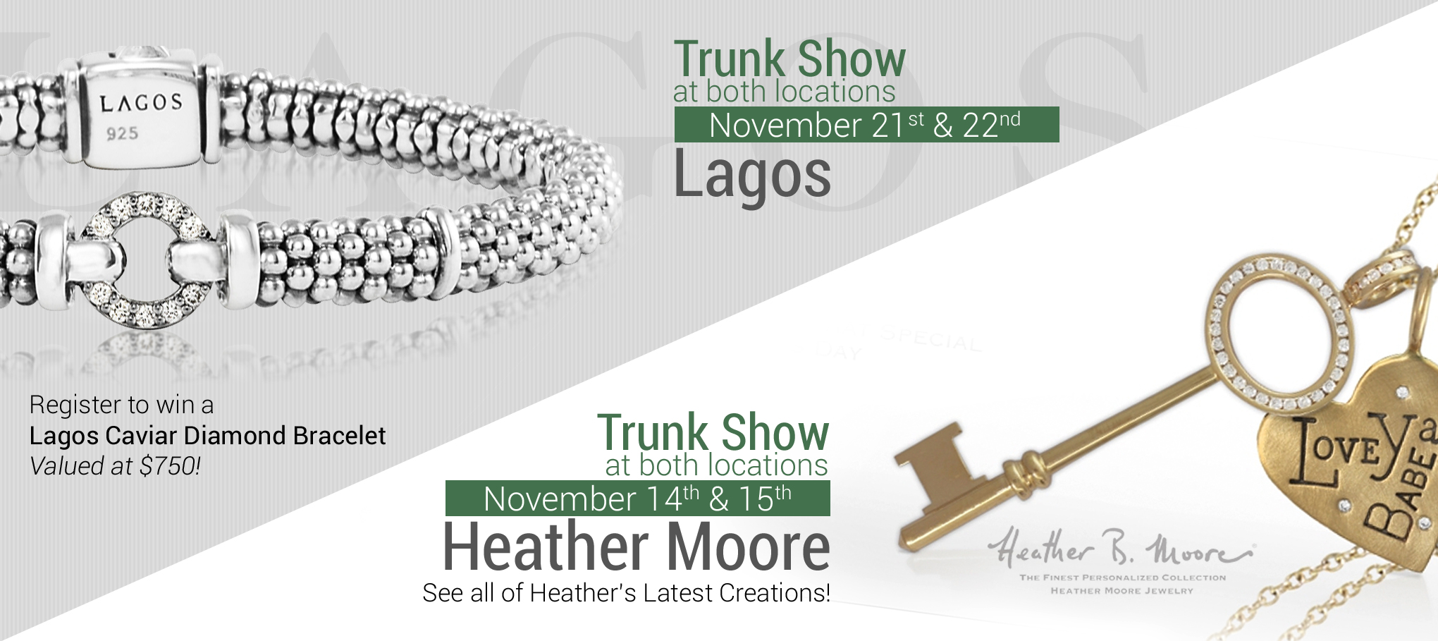 Heather Moore and Lagos Trunk Shows at Williams Jewelers of Denver, Colorado!